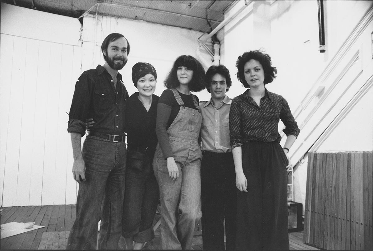 Marcia Tucker (centre) with New Museum staff, September 1977