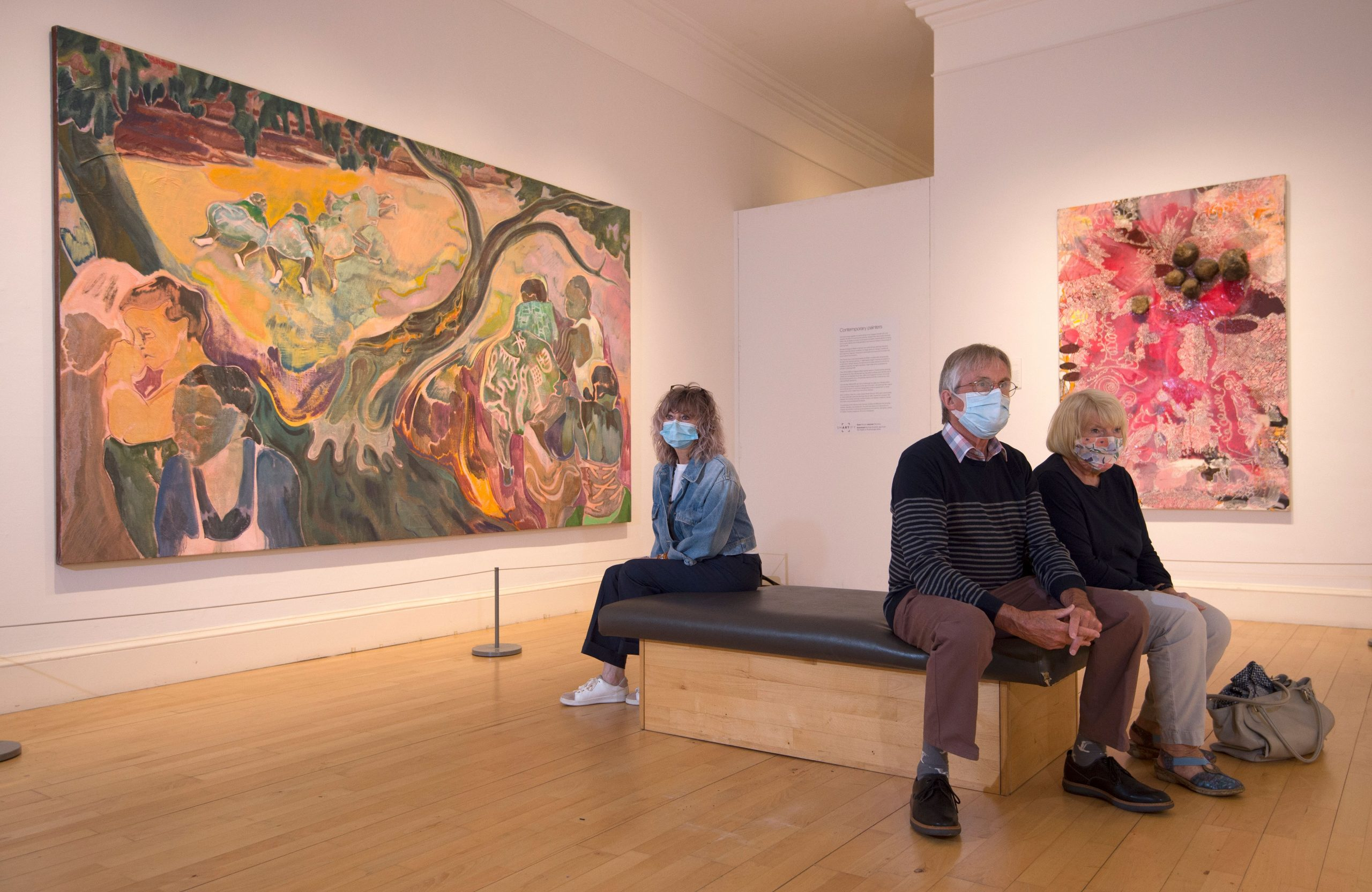 Visitors wearing masks at the National Gallery of Scotland