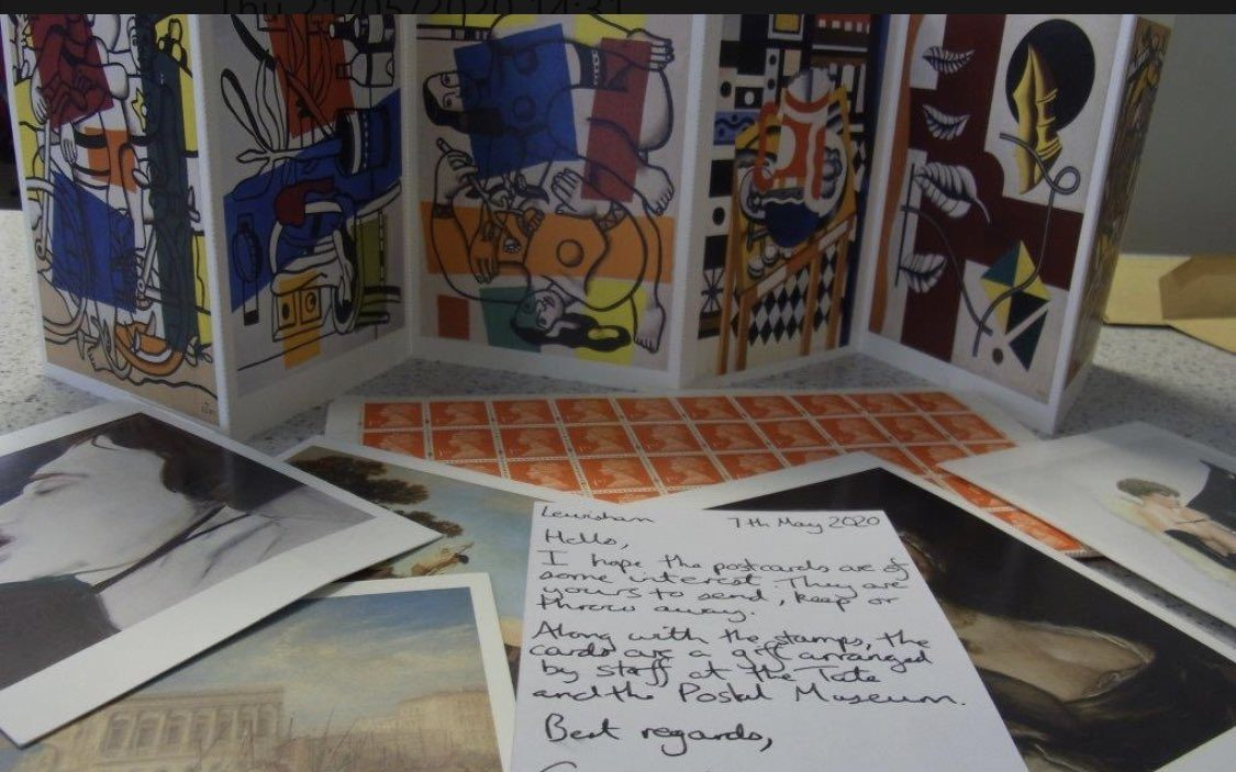 A sample of postcards donated to This Small Change, a project between museums and the Prisoners' Education Trust providing postcards to prisoners during Covid-19