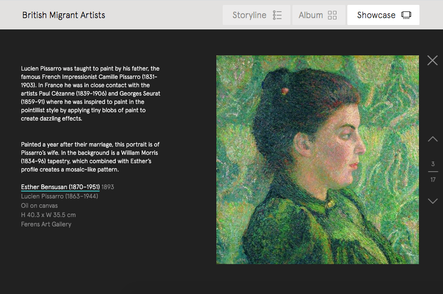 Screenshot of an artwork that features in a Curations on British migrant artists