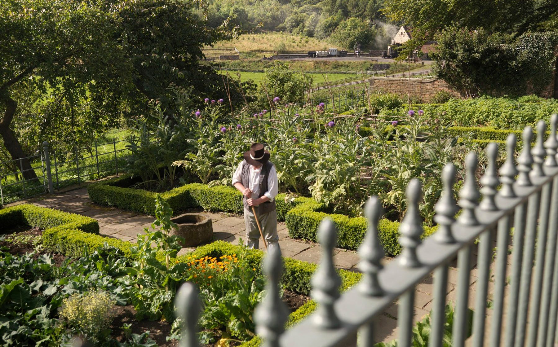 A gardener working at Pockerley Old Hall, part of Beamish: The Living Museum of the North