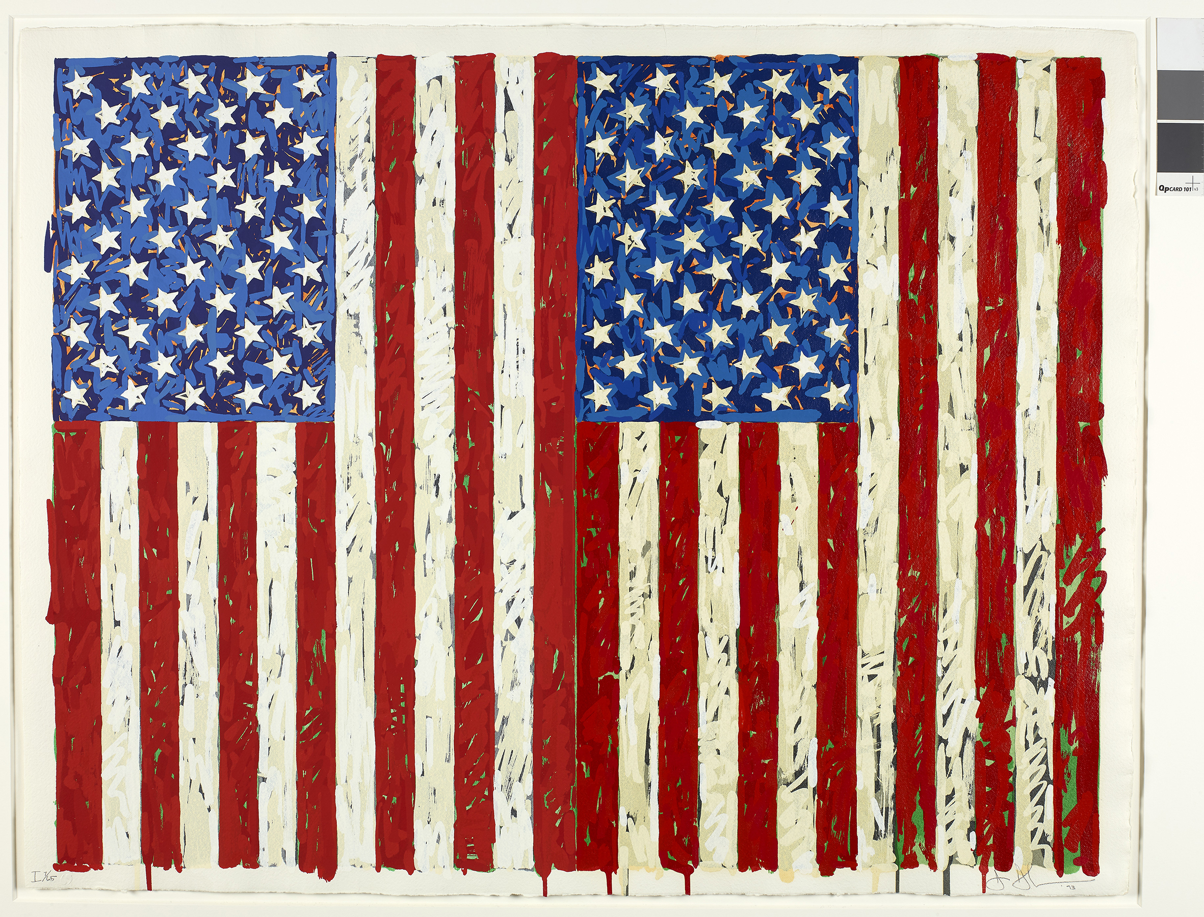 This Jasper Johns work, Flags I, has been acquired by the British Museum, London