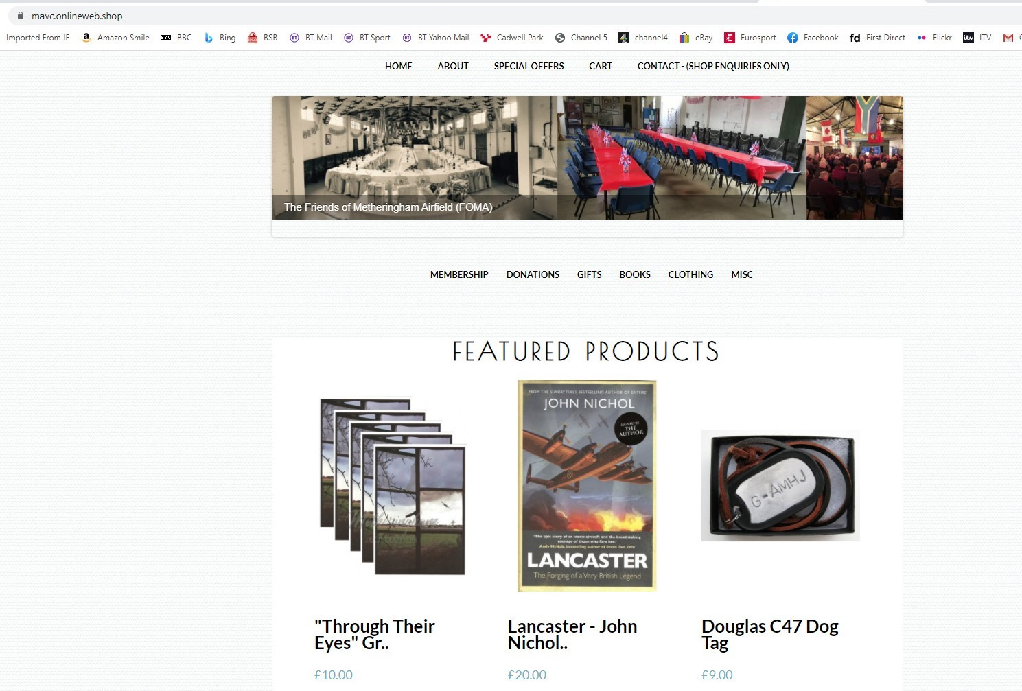 """Built on the """"Freewebstore"""" platform, the Metheringham Airfield Museum online shop took just a few days to build"""