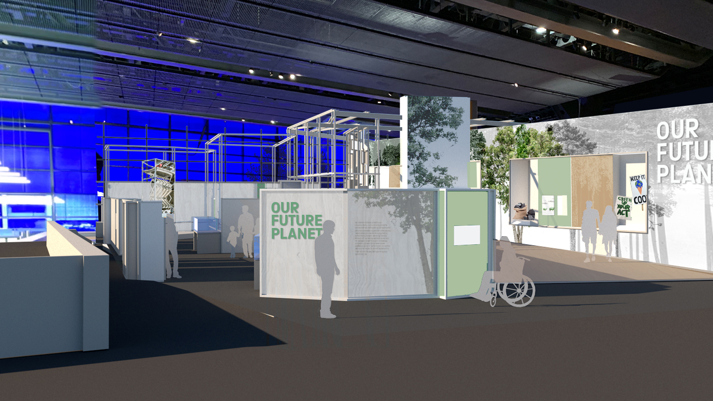 Artwork rendering of the entrance to the planned Our Future Planet exhibition