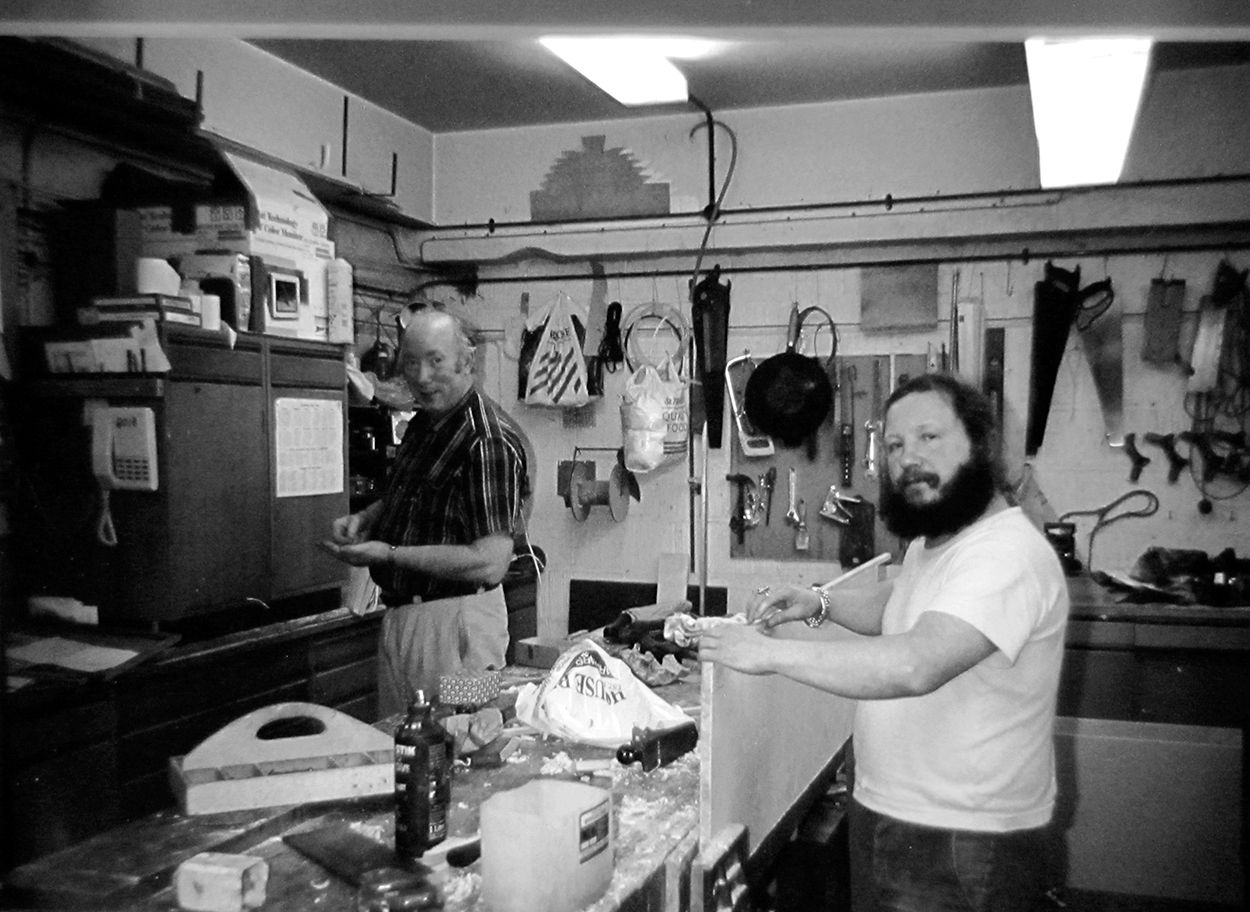 Andy McLeod and Paul Guzie in the Carpenters' Shop in 1993
