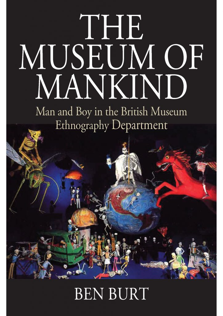 Book cover of the Museum of Mankind book. Image shows various cartoon skeletons in a fantastical scene