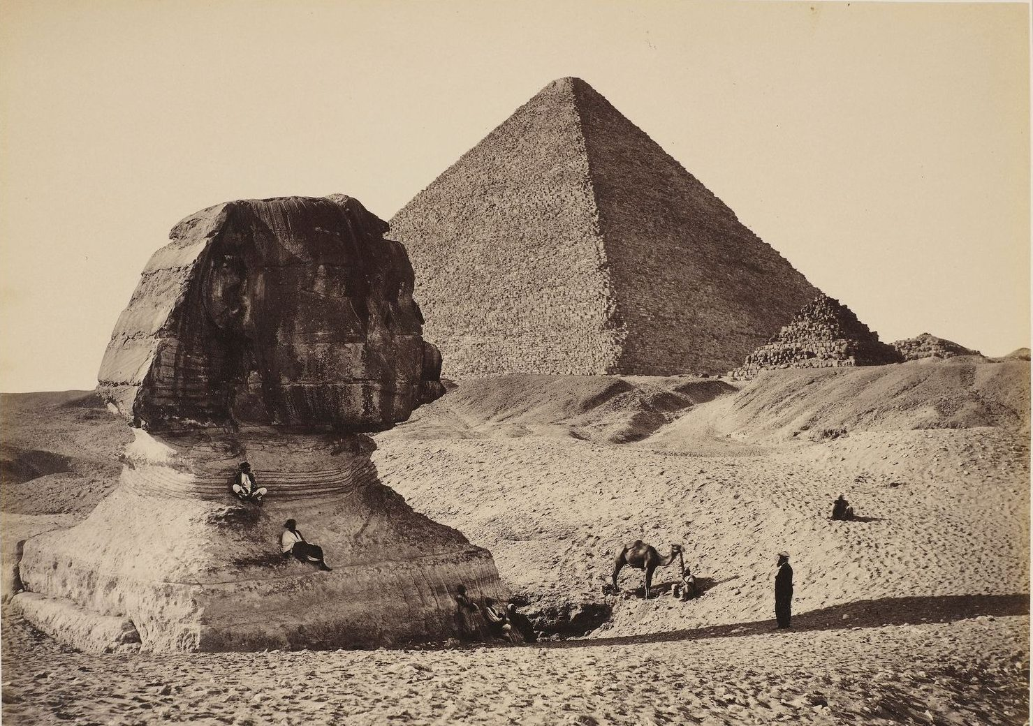 The Sphinx, the Great Pyramid and the two lesser pyramids in Ghizeh, Egypt. one of the photographs on display at the Sights of Wonder exhibition, now online, at the Barber Institute of Fine Arts