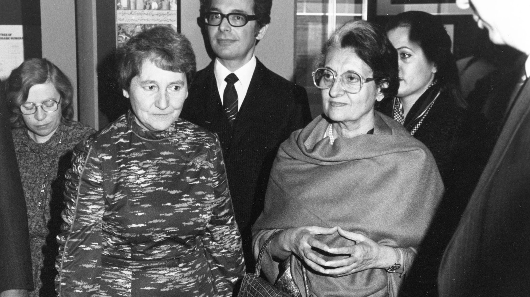 Dame Margaret Weston (front left) and Indira Gandhi, Prime Minister of India, at the opening of Science in India, Science Museum, 1982