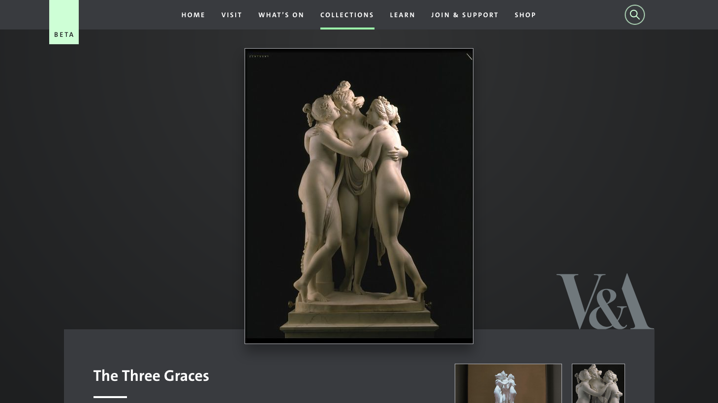 V&A Explore the Collections showing Antonio Canova, The Three Graces