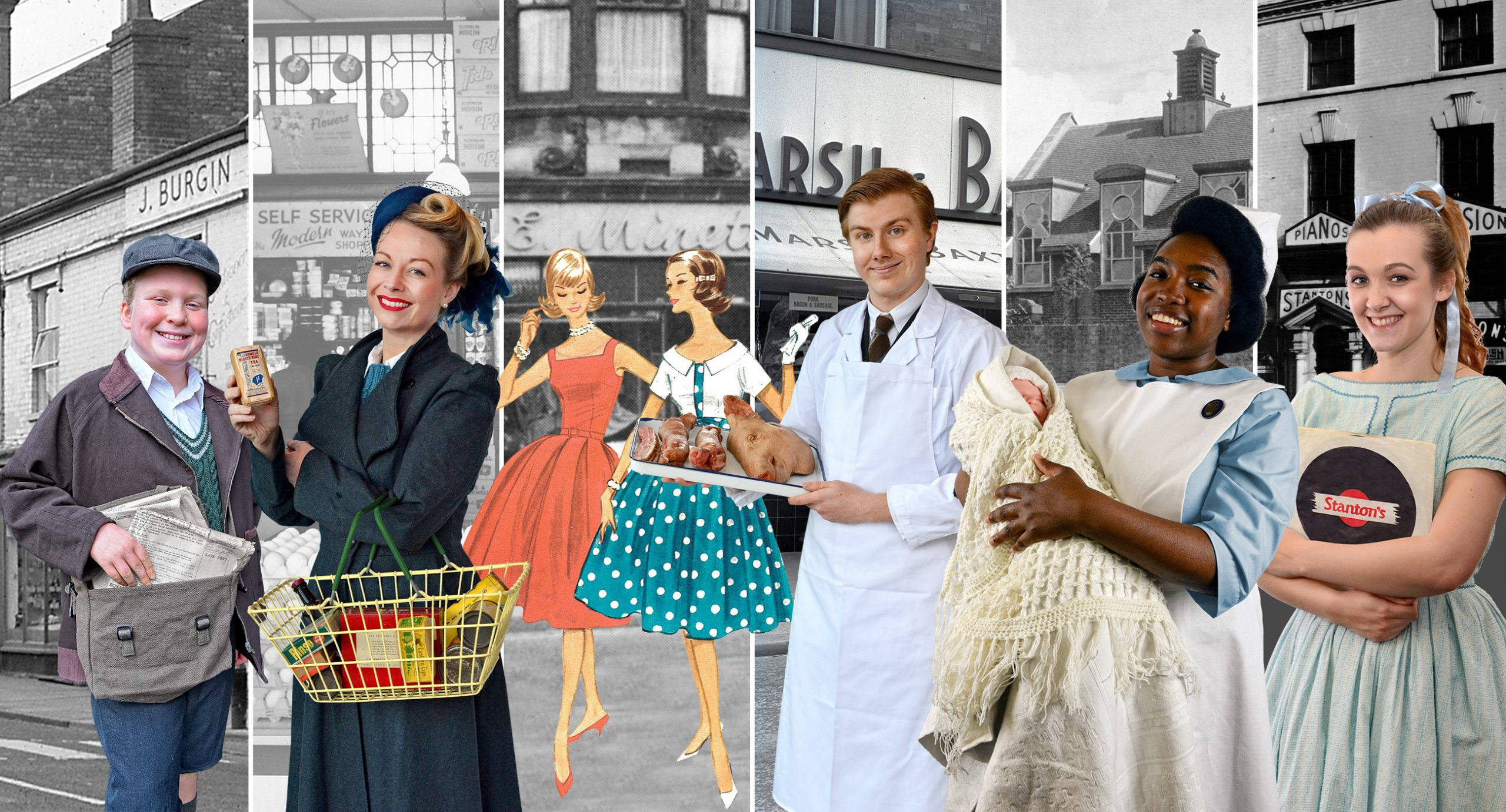 A mock-up of new characters planned for the Black Country Living Museum's new historical areas spanning the 1940s to the 1960s