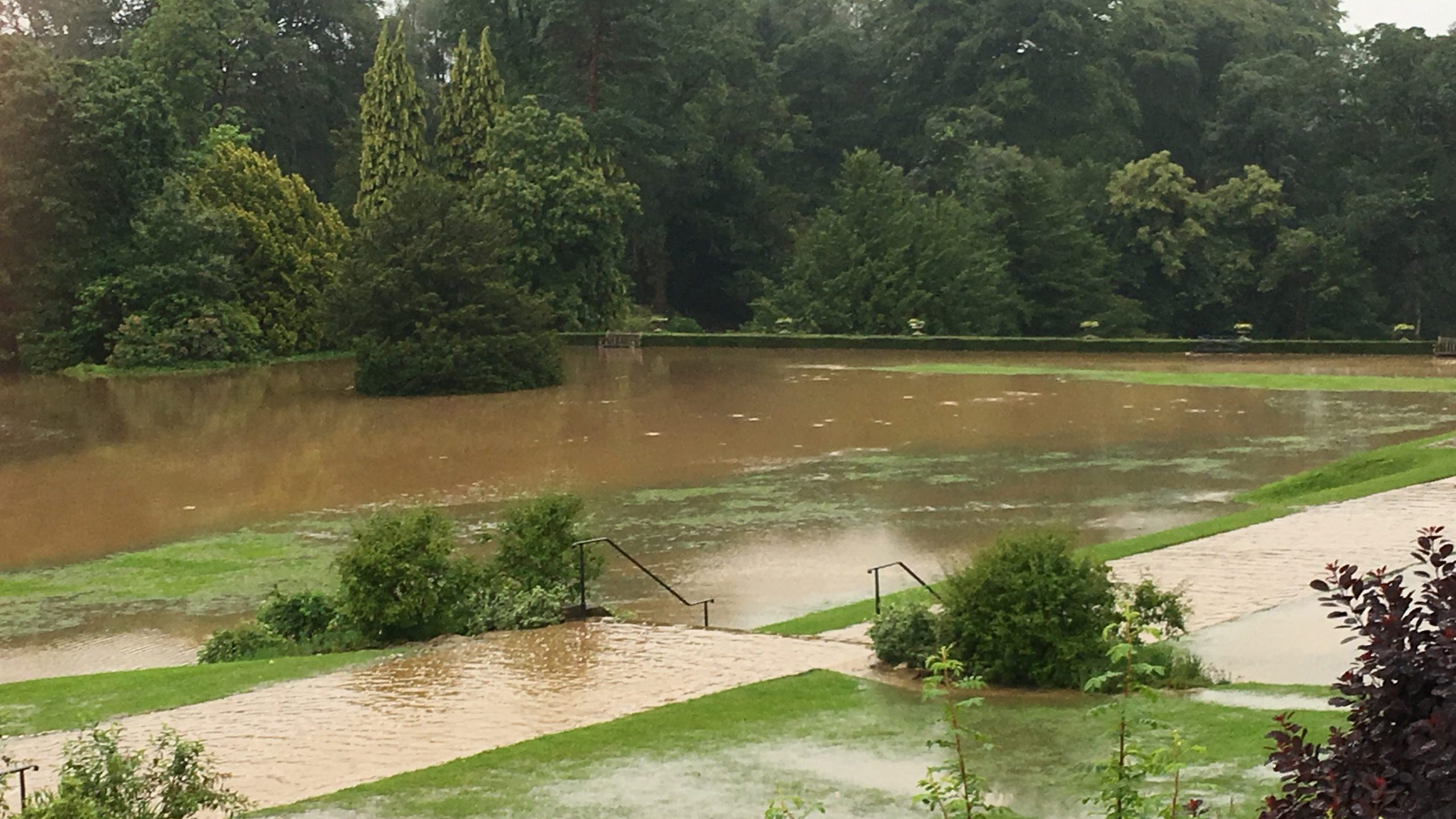 Flooding at Lyme Park, Cheshire, in July 2019