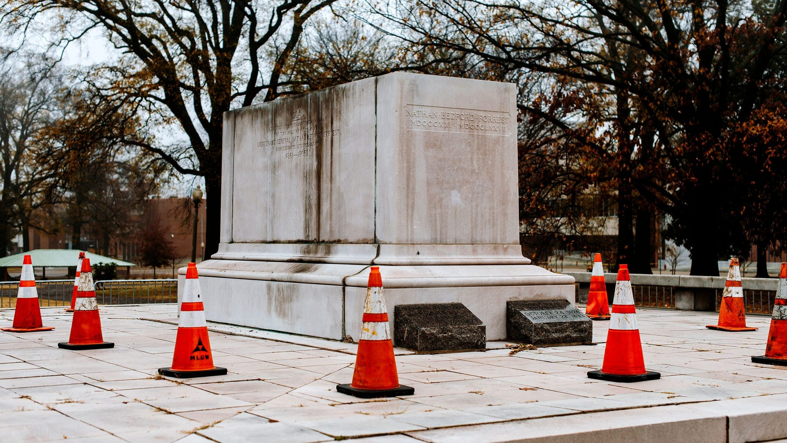 Remains of the Nathan Bedford Forrest Monument at the Health Sciences Park, Memphis, US