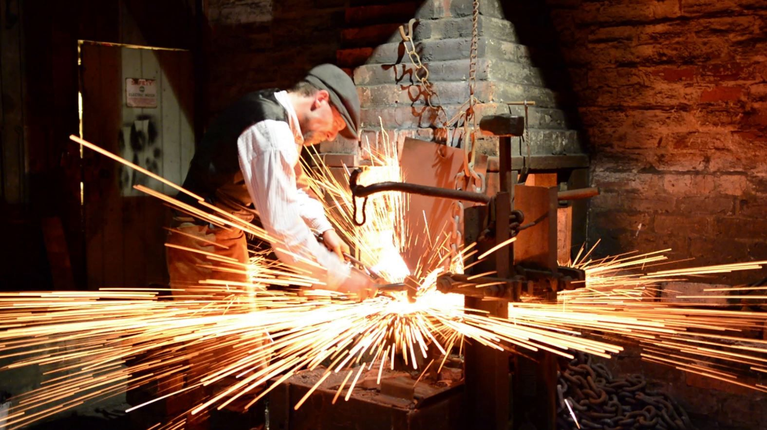 Metalworker Daniel Williams demonstrates old manufacturing techniques at the Black Country Living Museum