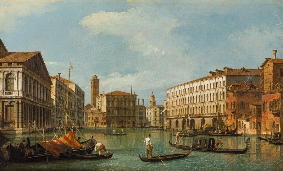 A painting of gondoliers in Venice