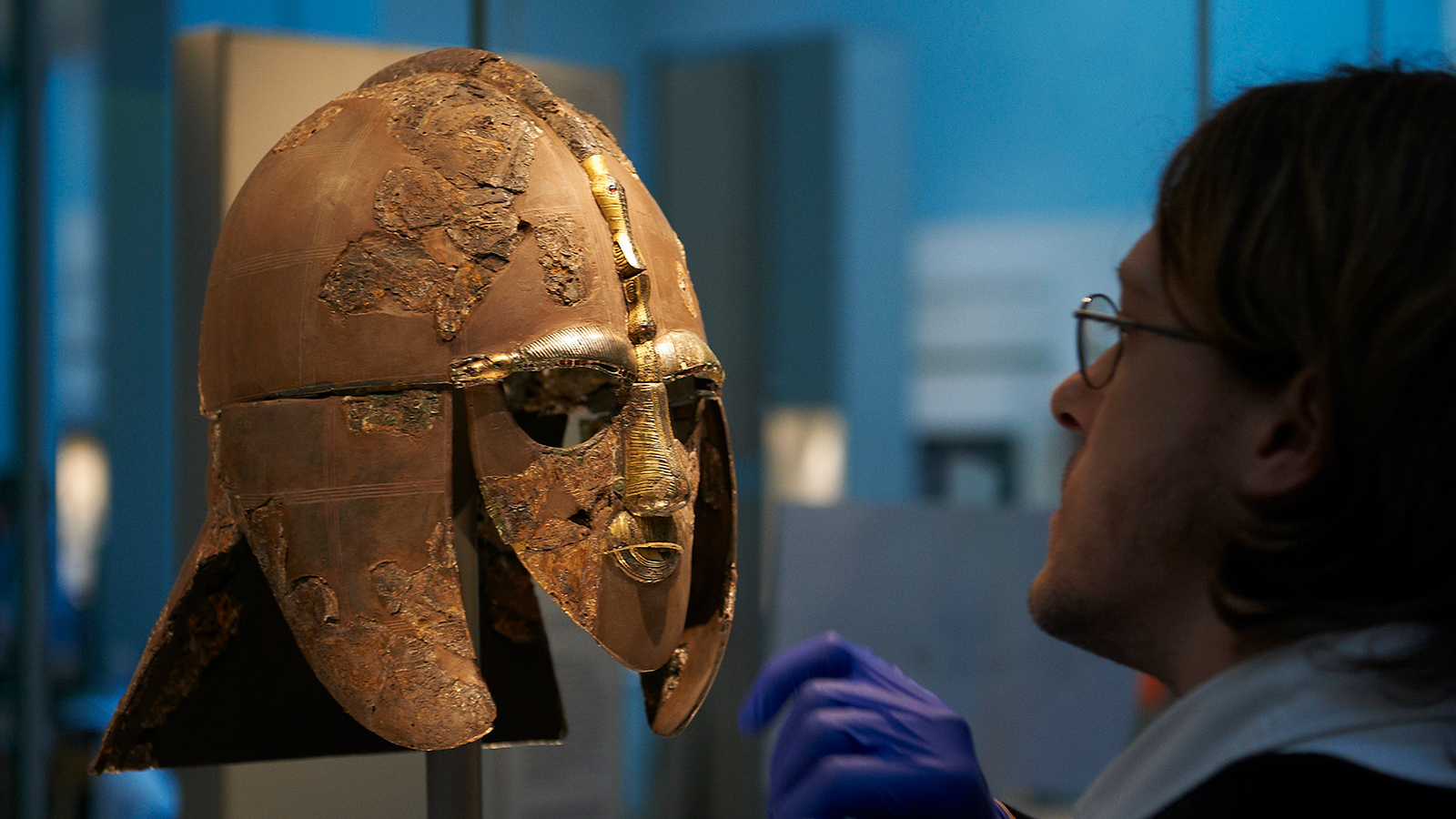 The Sutton Hoo helmet is on display at the British Museum in London
