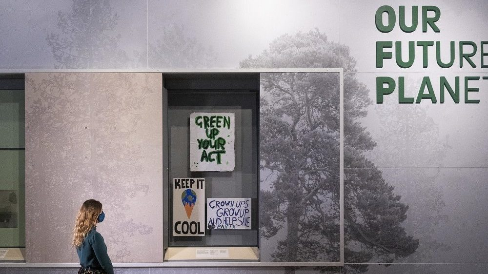 The 'Keep it cool' placard has been removed from display at the Our Future Planet exhibition