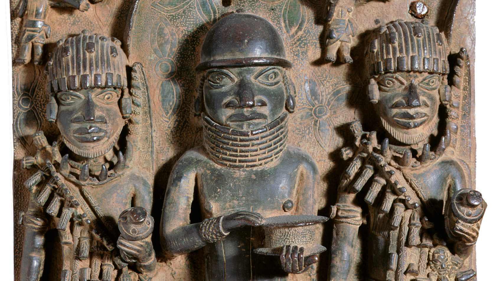 Detail from a brass plaque looted by Captain George Le Clerc Egerton from Benin City