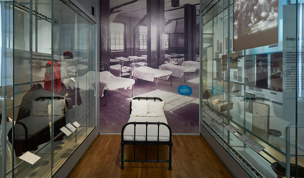 A foundling bed on display in the museum's introductory gallery
