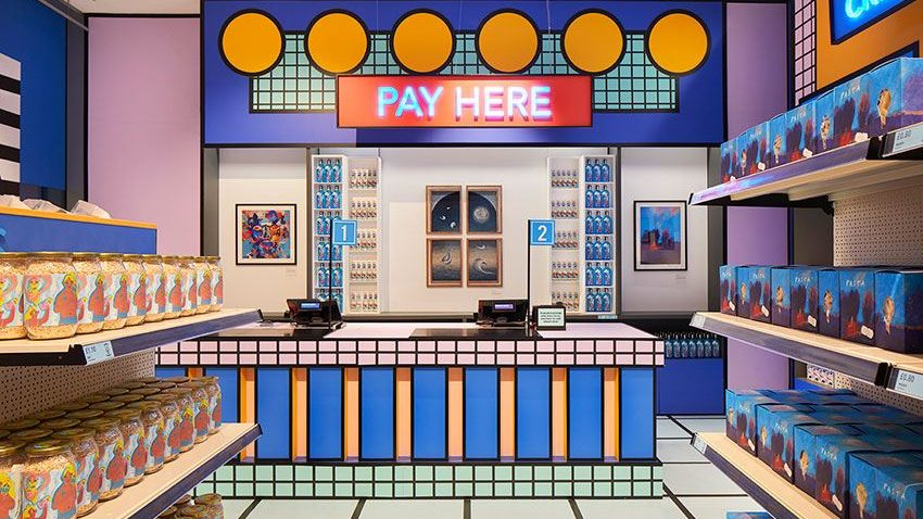 Inside the pop up Supermarket exhibiton designed by Camille Walala