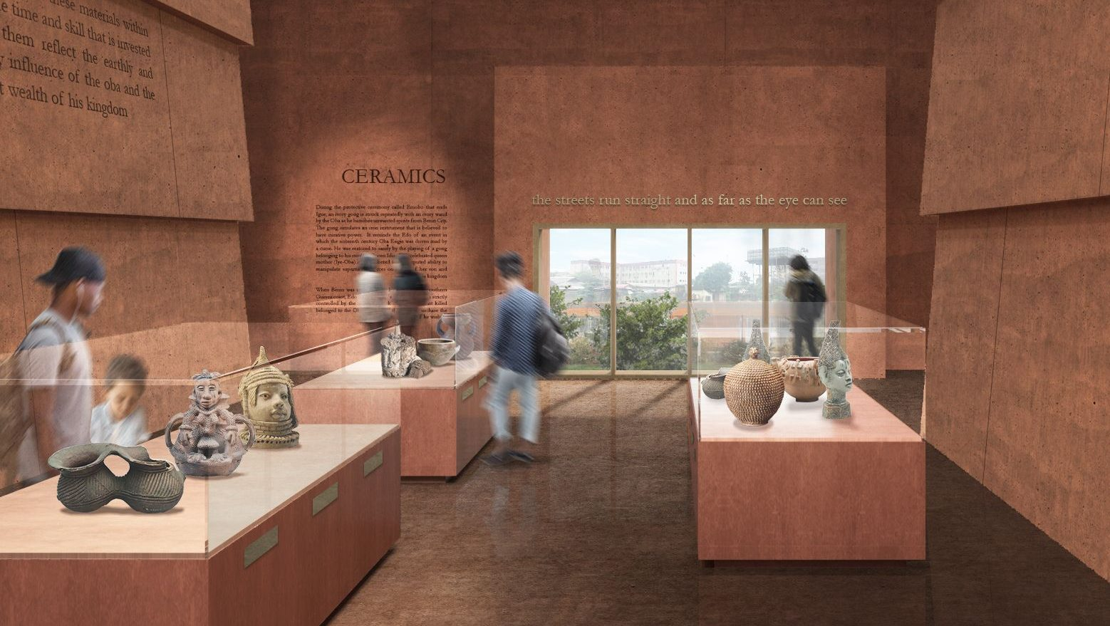 An artist's impression of the ceramics gallery in the Edo Museum of West African Art