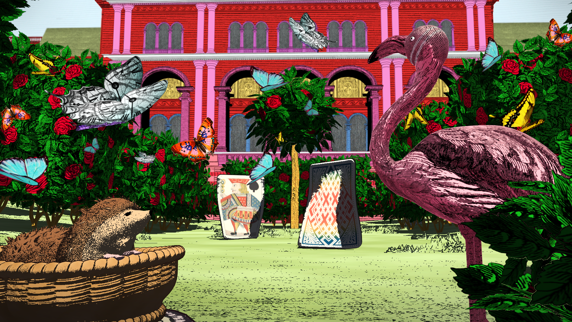 Still from the Curious Alice VR experience featuring artwork by Kristjana Williams