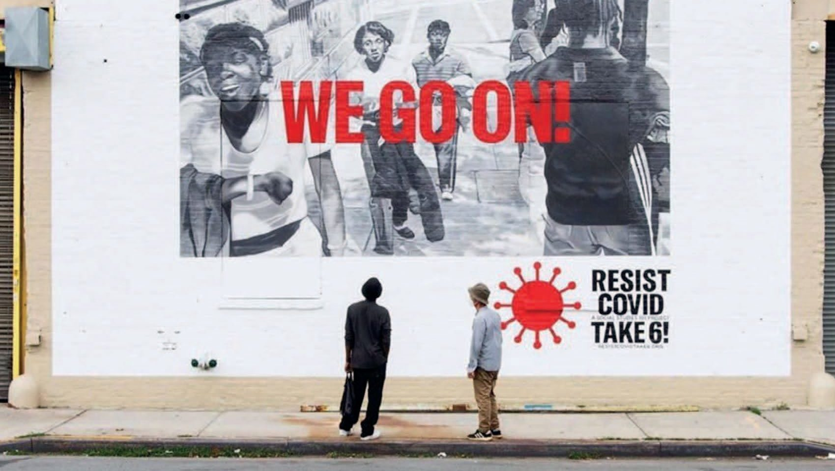 A mural created by US artist Carrie Mae Weems as part of her campaign highlighting the disproportionate impact of Covid on Black communities. Weems is one of the artists nominated for the 2021 Artes Mundi prize and her work is currently on display at the National Museum of Cardiff