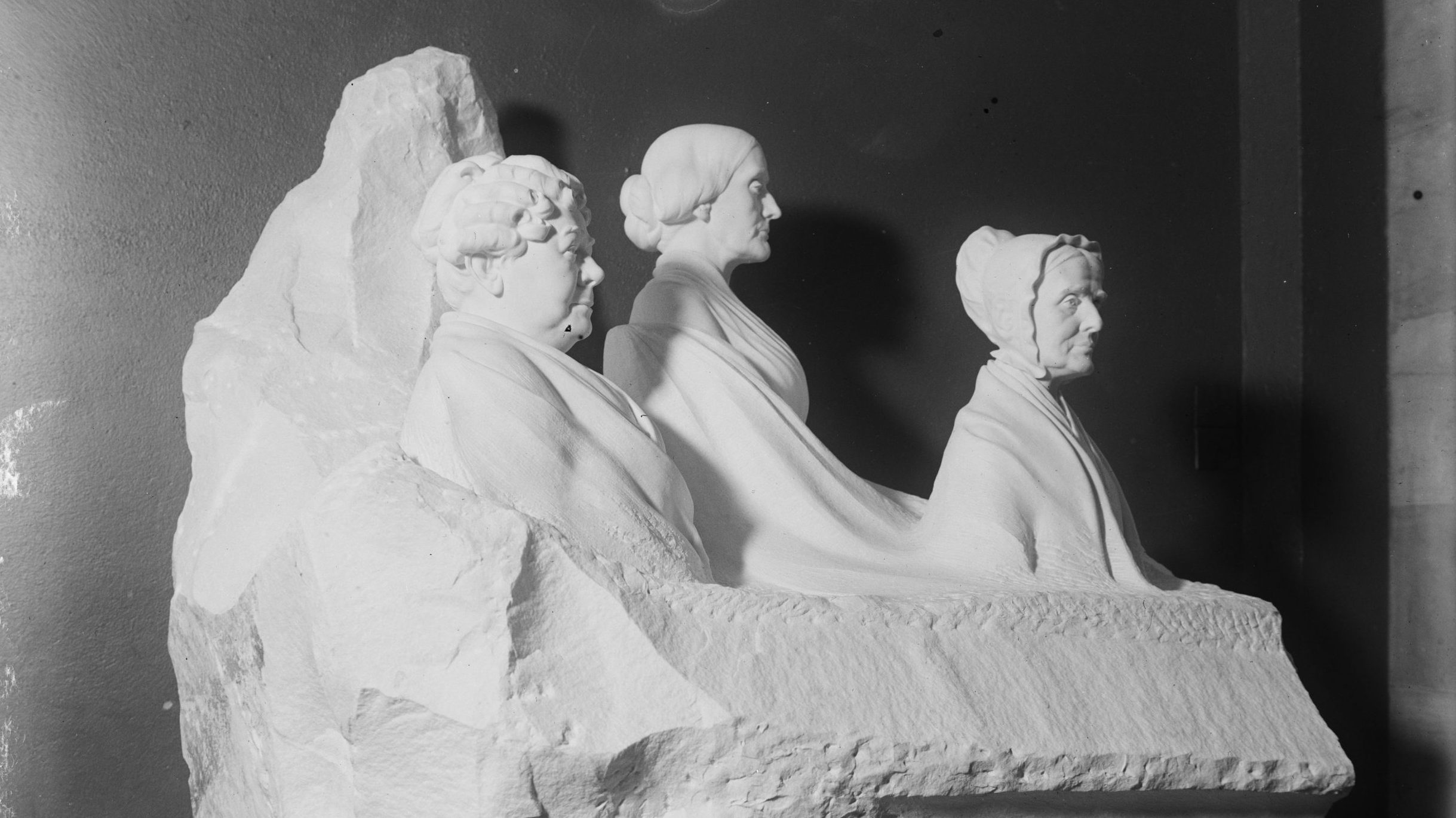 The statue of three suffragists installed in the Capitol Rotunda in the 1920s was swiftly hidden