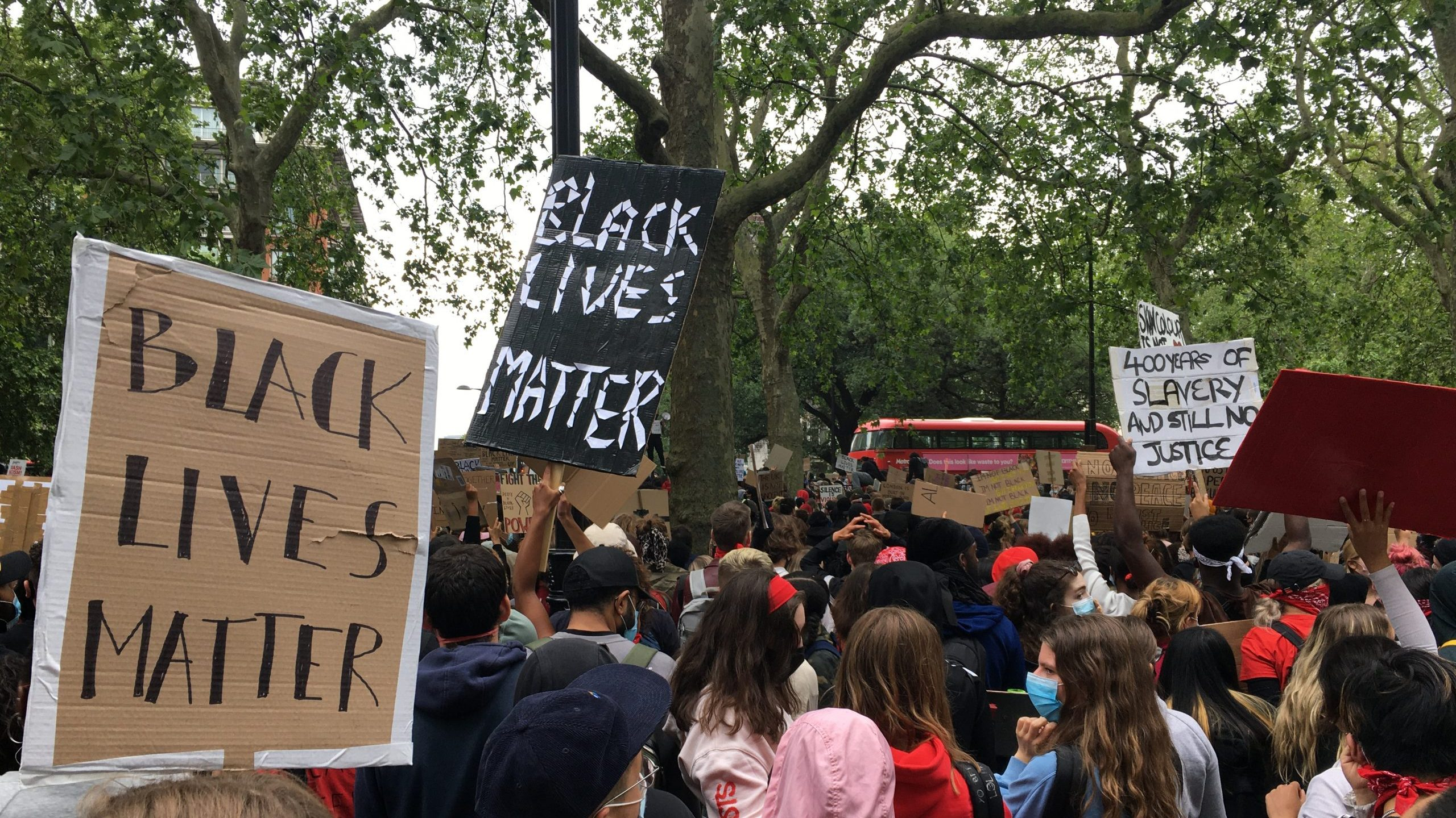 A Black Lives Matter protest at Hyde Park following the murder of George Floyd last year