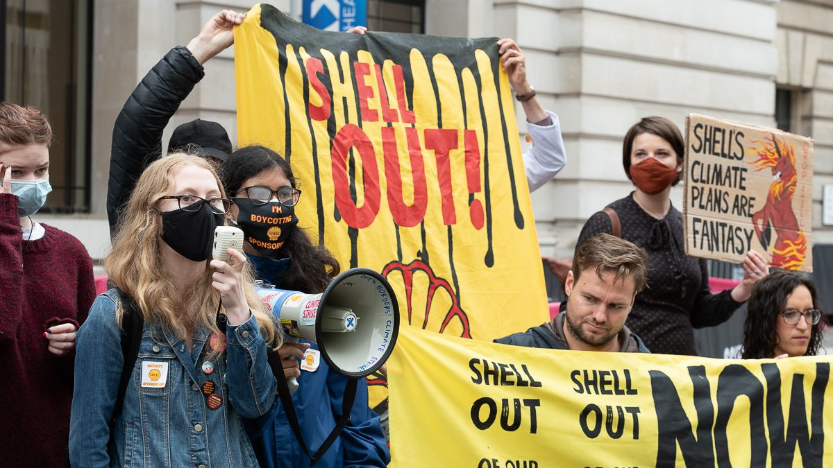 Student climate strikers outside the Science Museum earlier this year  in protest at the sponsorship of the Our Future Planet exhibition by Shell