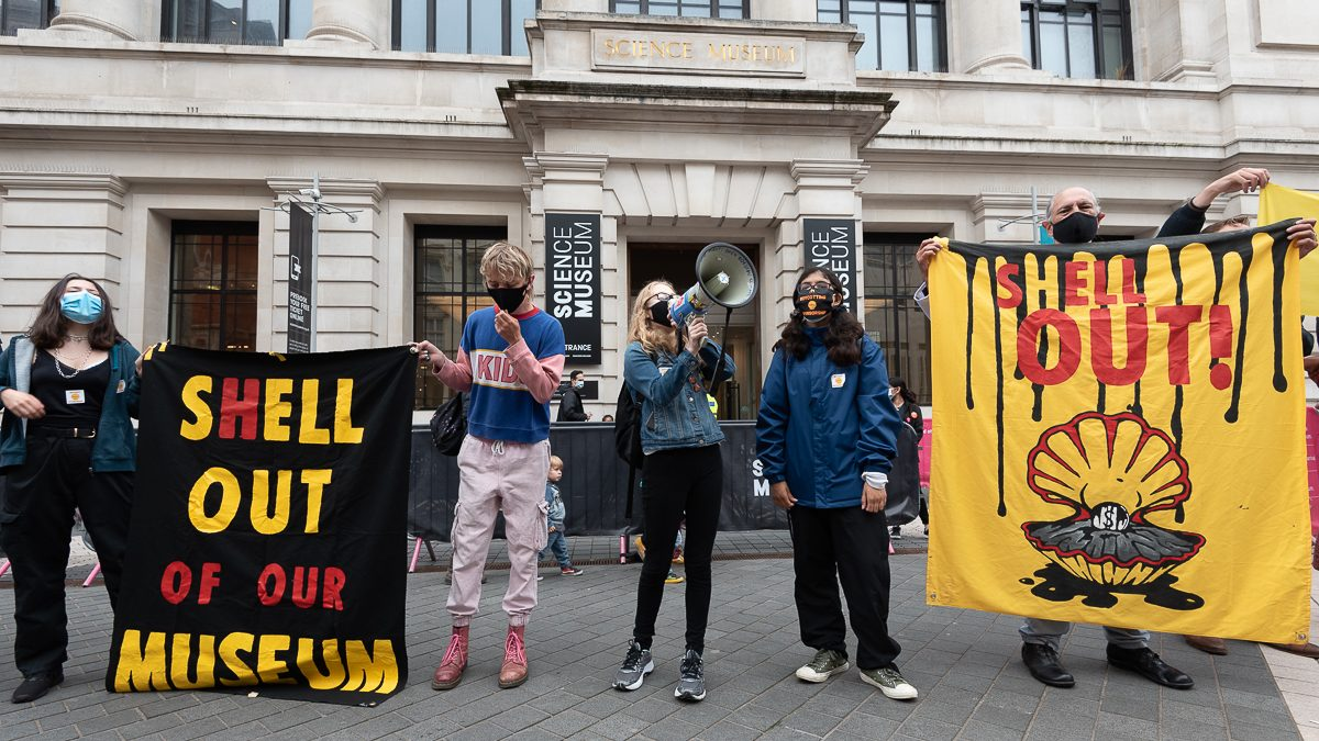 Protestors demonstrate against Shell sponsorship at the Science Museum, 19 June