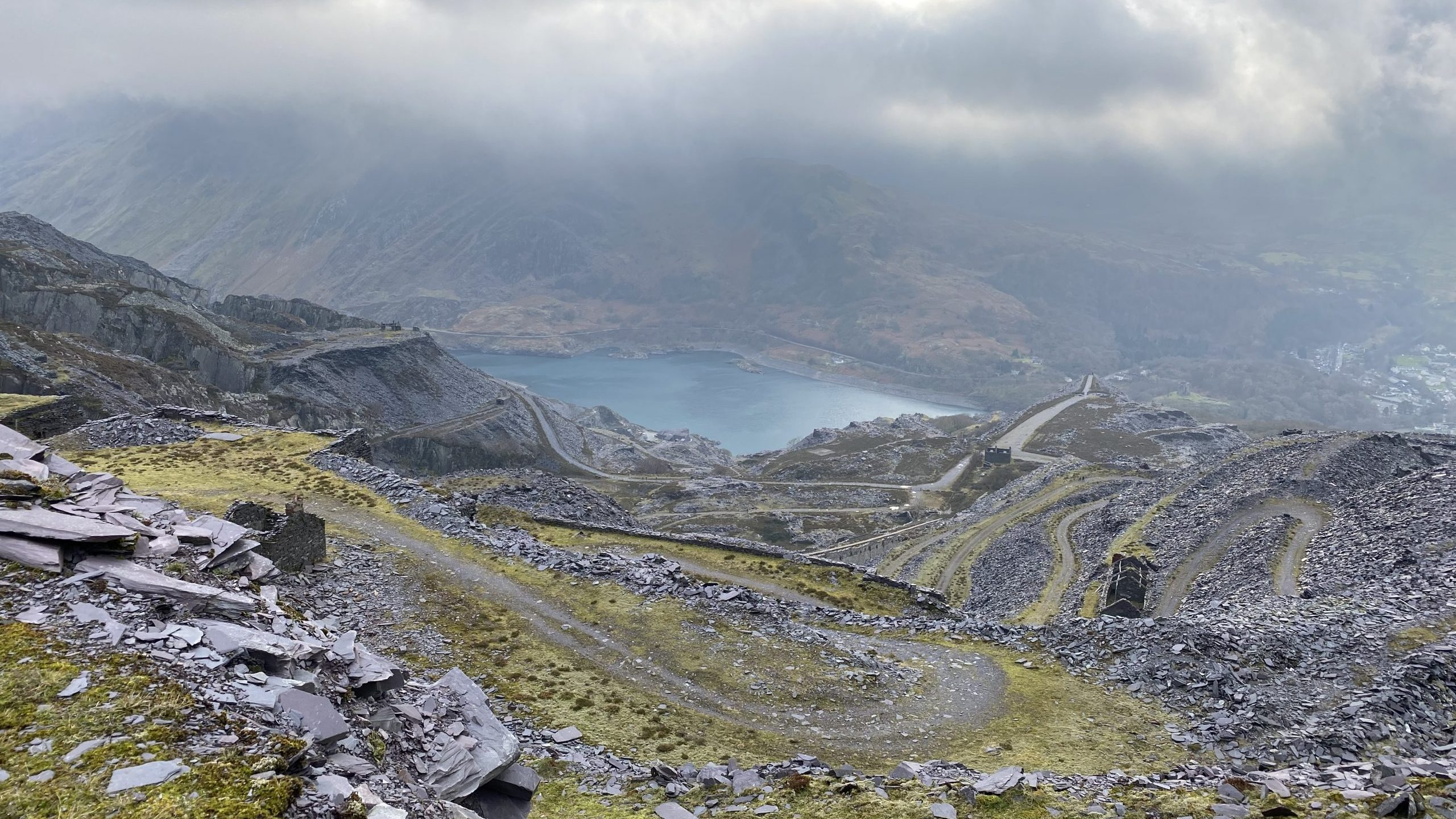The slate landscape is in the mountains of Snowdonia