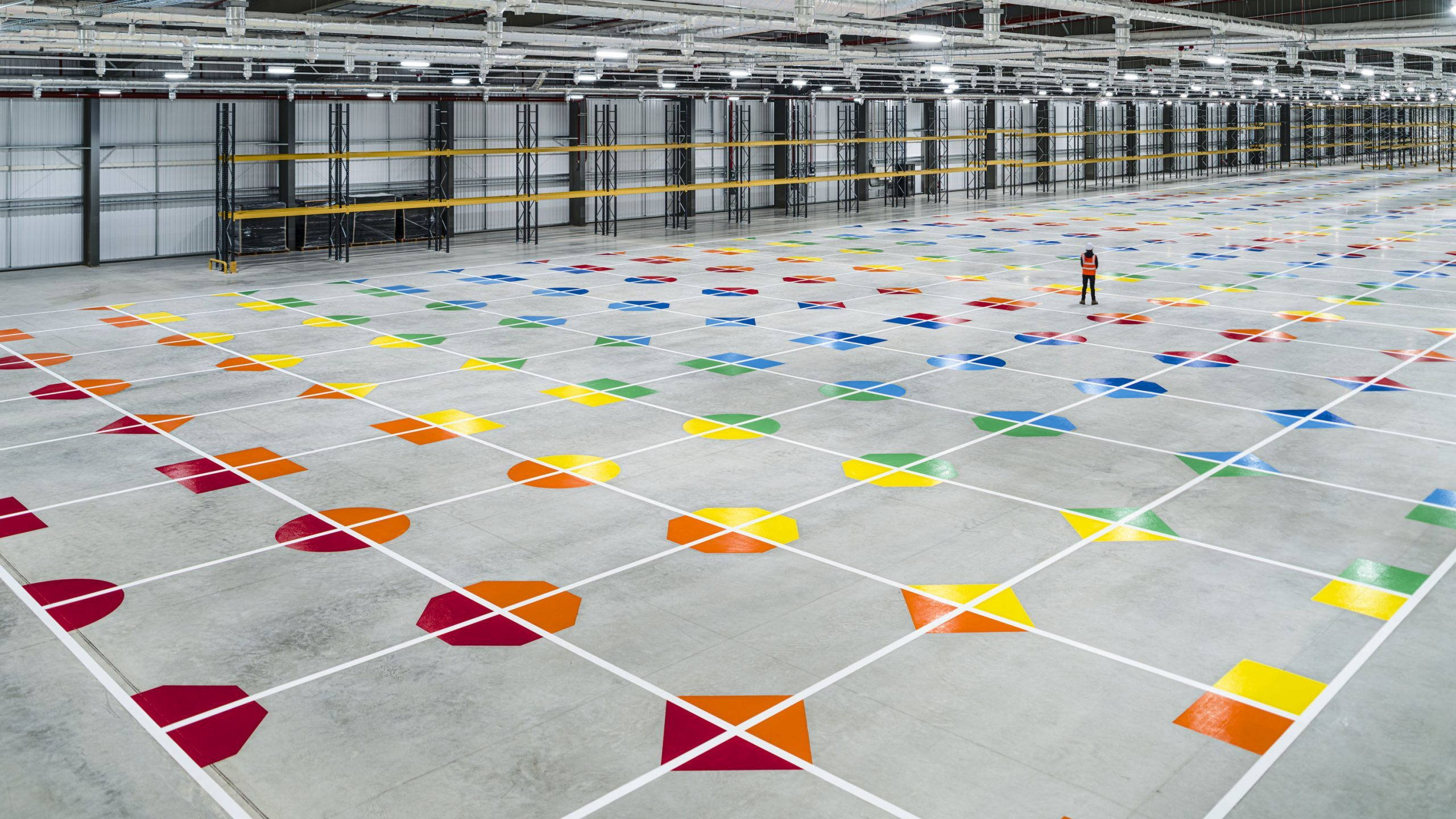 A view across the large object grid shows the huge scale of the building