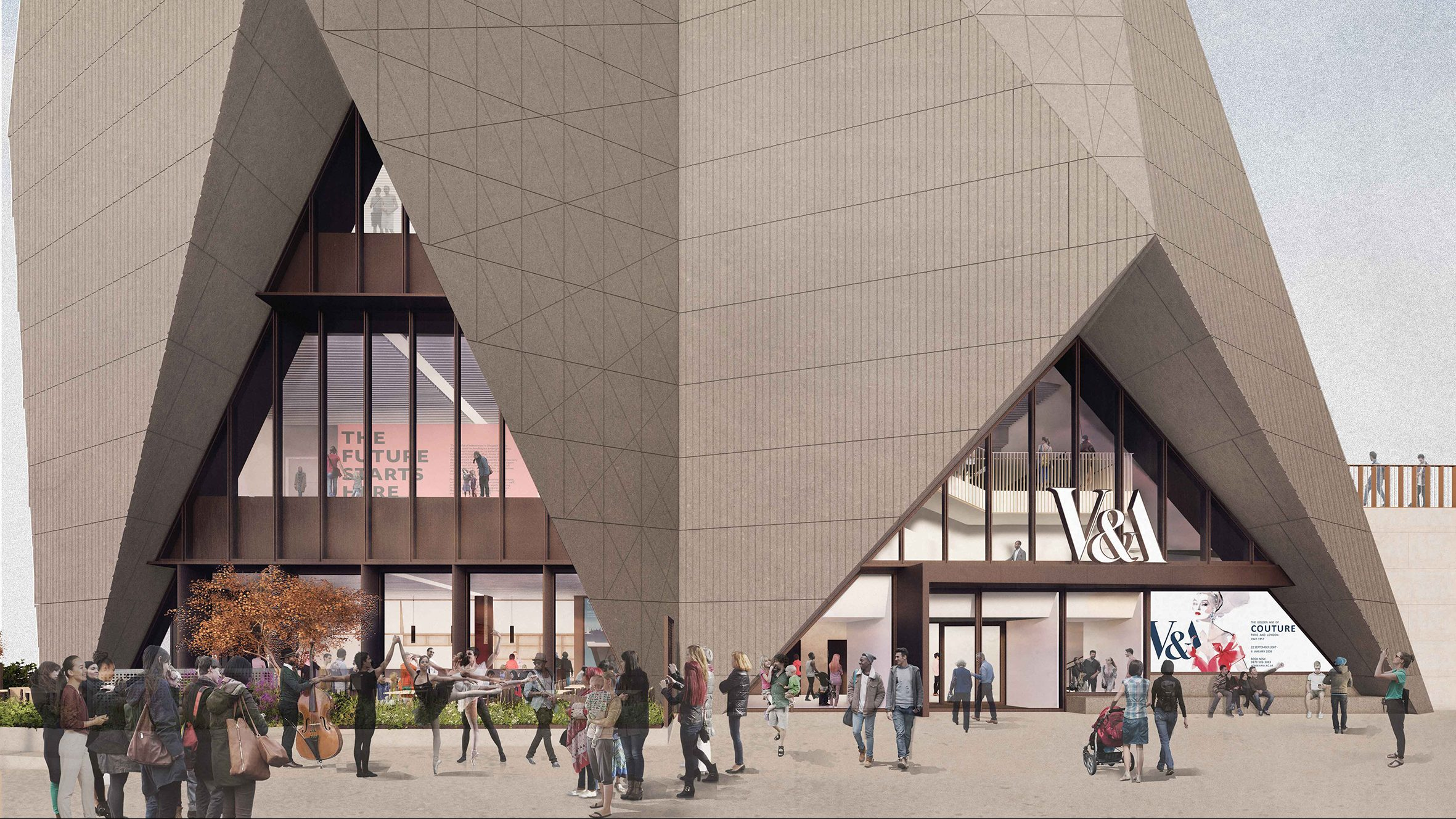 External render view of V&A East Museum