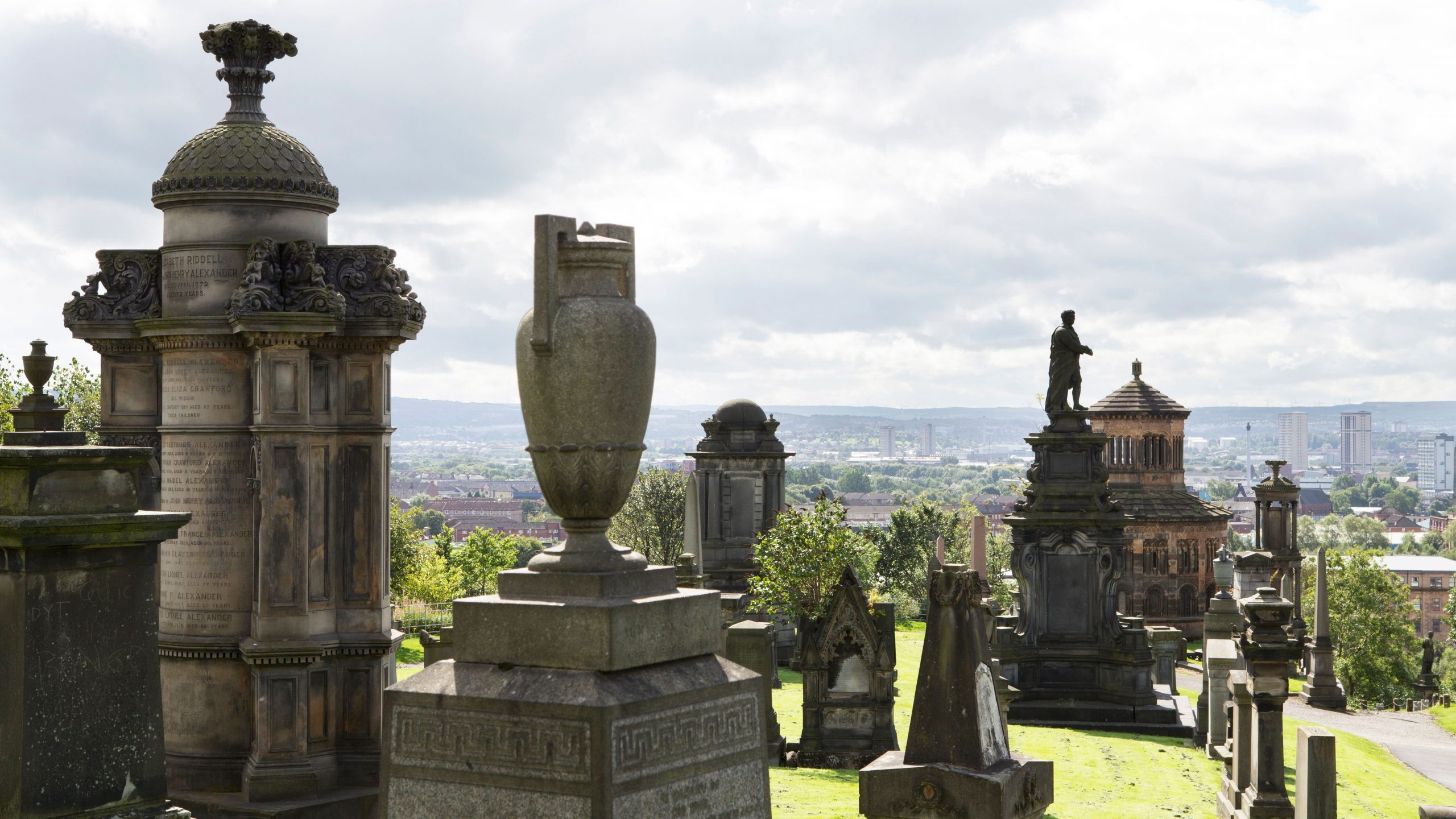 Spilling down a hillside into the valley below, Glasgow Necropolis took inspiration from Paris's Père Lachaise cemetery. It was one of the UK's first garden cemeteries when it opened in 1833