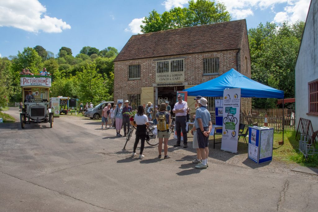 Community groups, including Horsham District Cycling Forum, engaged with visitors to Amberley Museum on World Environment Day.
