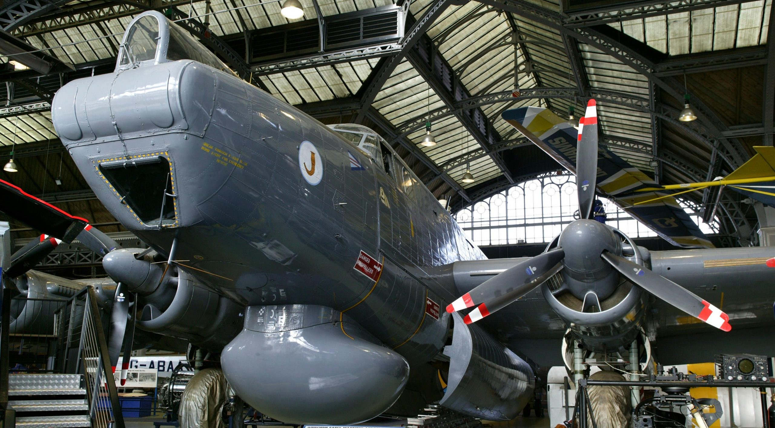 Exterior view of the Avro Shackleton A.E.W.2 reconnaissance aircraft,  Military Service No. WR 960, made by A. V. Roe & Co. Ltd, Woodford, 1954 on display in the Air and Space gallery.