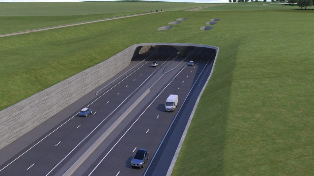 The proposed tunnel would have continued for two miles under the prehistoric site