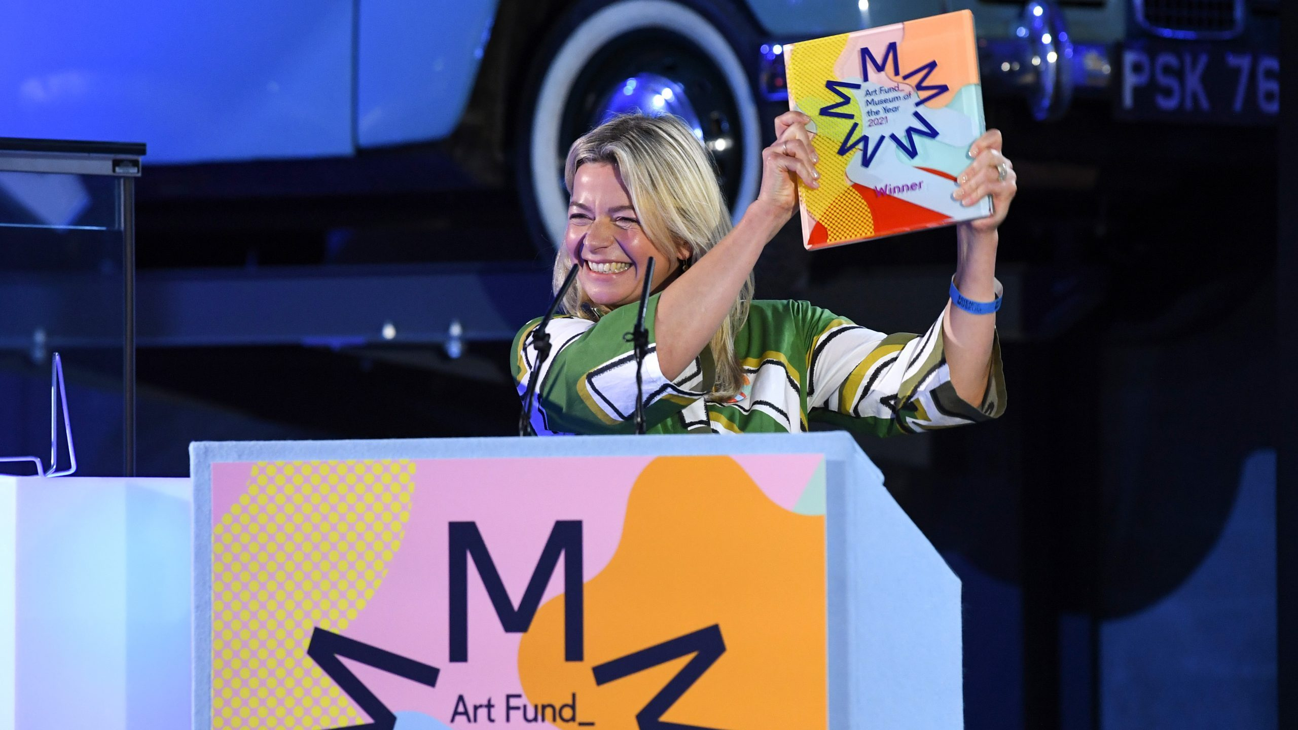 Sally Shaw, director of Firstsite, winner of Art Fund Museum of the Year 2021, at the award ceremony at the Science Museum in London